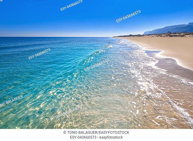 El Carabassi beach in Elx Elche of Alicante in Spain at Costa Blanca also Carabasi