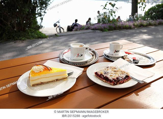 Two cups of coffee and two pieces of cake, beach café, lakeside promenade on Lake Starnberg, Starnberg, Fuenfseenland area, Upper Bavaria, Bavaria, Germany