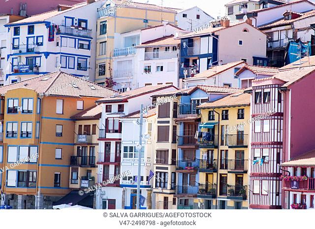 Facades of apartment Bermeo, Biscay, Basque Country, Spain, Europe