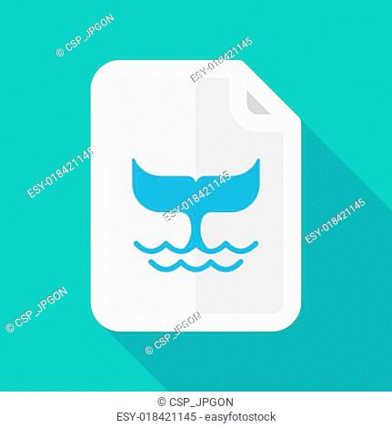 Long shadow document icon with a whale tail