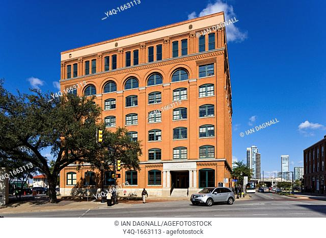 The infamous Texas Schoolbook Depository now the Dallas County Administration Building, from which Lee Harvey Oswald shot President John F Kennedy, Dealey Plaza