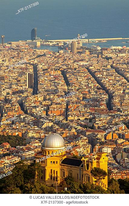 View of Barcelona from Tibidabo mountain, with the Fabra Observatory,Barcelona,Catalonia,Spain