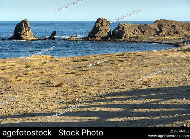 Embarcadero beach Los Escullos Cabo de Gata nature reserve in Almeria Andalusia Spain