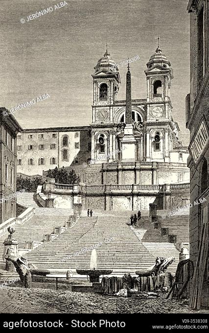 Piazza di Spagna. Spanish Steps and church of Trinita dei Monti, Rome. Italy, Europe. Trip to Rome by Francis Wey 19Th Century