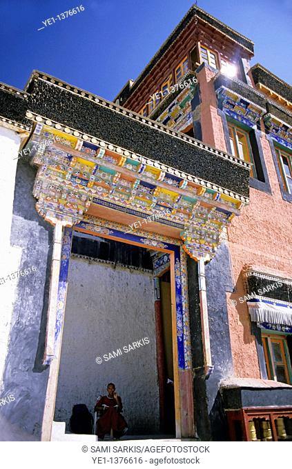 Colorful tiles decorate the entrance to the Thikse Monastery, Ladakh, India