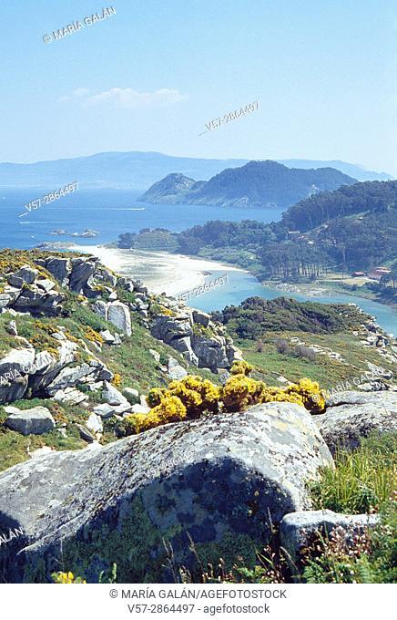 Overview. Cies Islands, Atlantic Islands National Park, Pontevedra province, Galicia, Spain