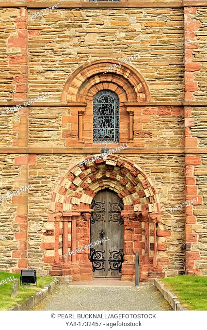 Palace Road, Kirkwall, Orkney Mainland, Scotland, UK, Great Britain, Europe  Side entrance door to south transept of 12th century St Magnus' cathedral built...