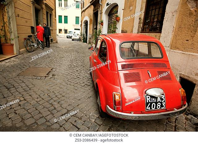 Old red Fiat 500 car, Piazza Navona, Rome, Italy, Europe