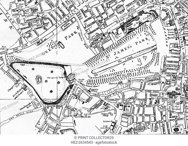 Map of St James' Park and Green Park in 1800, c1833 (1911). Artist: William Schmollinger