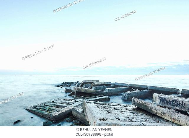 Concrete slabs of derelict pier in sea, Odessa, Odessa Oblast, Ukraine, Europe