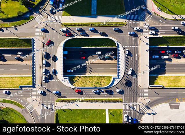 Aerial view of rush hour traffic at Zagreb roads, Croatia
