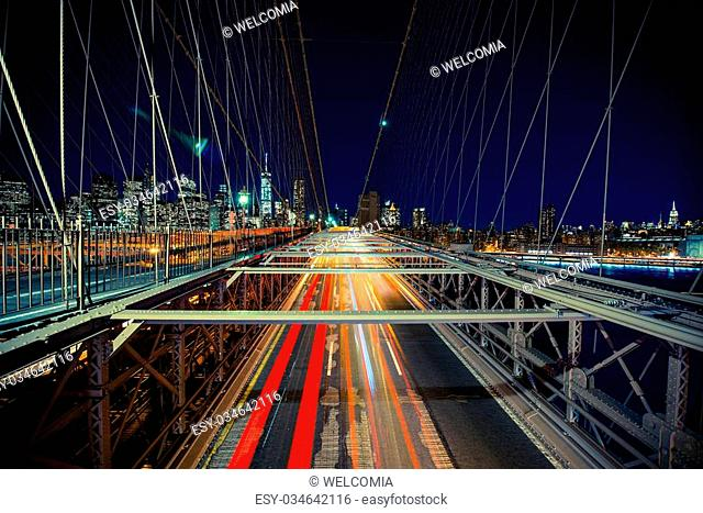 New York Traffic in Motion. Brooklyn Bridge During Heavy Traffic Time. New York, USA