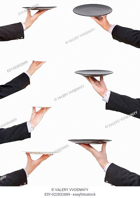 set of businessman palms with empty flat plate