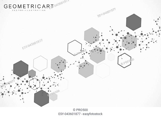 Science network pattern, connecting lines and dots. Modern futuristic virtual abstract background molecule structure for medical, technology, chemistry, science