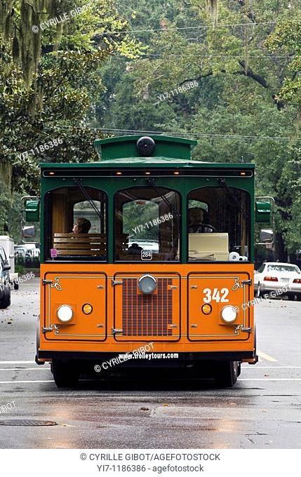 Trolley car in Savannah, Georgia, USA