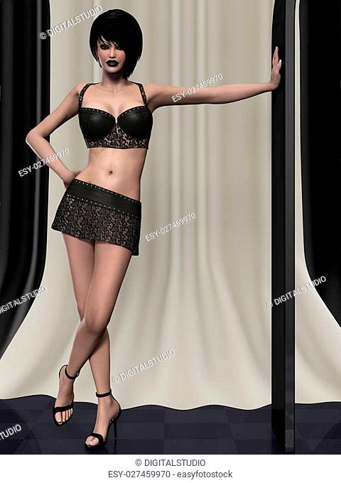 3d render of a young model in short mini skirt and top