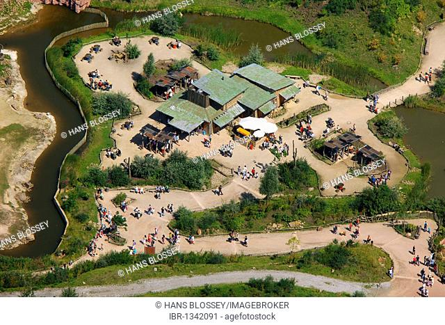 Aerial view, Zoom Erlebniswelt, Africa theme park, Bismarck, Gelsenkirchen, Ruhrgebiet region, North Rhine-Westphalia, Germany, Europe