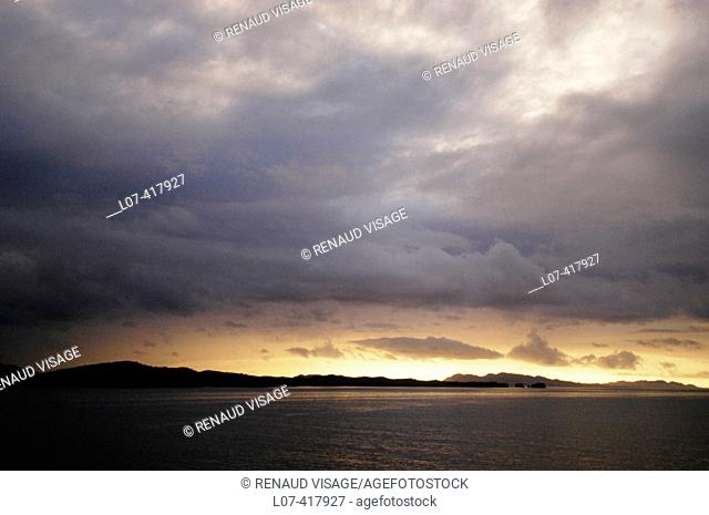 Morning sky with clouds and light on the Inside Passage. Alaska. United States