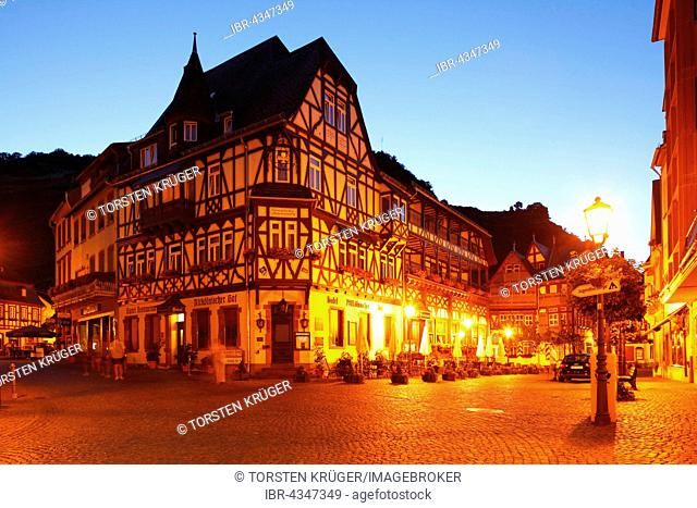 Restaurant and totel Altkölnischer Hof in the historic centre on the Market Square at dusk, Bacharach, Rhineland-Palatinate, Germany