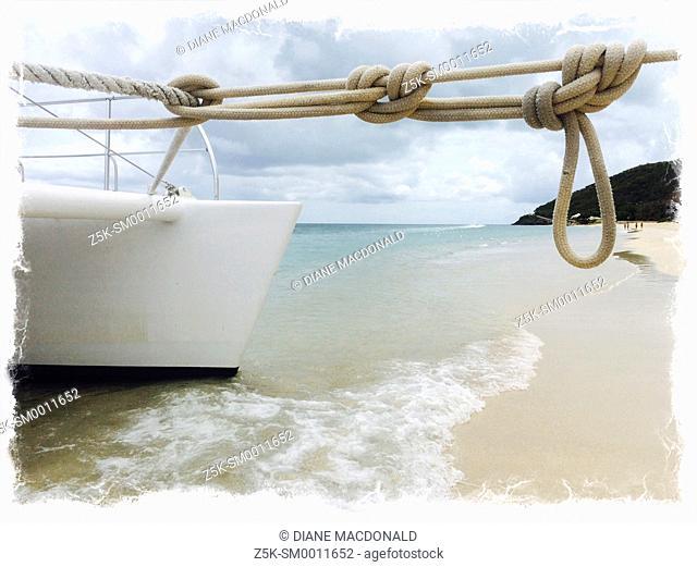 A catamaran moored at Turner's Beach, Antigua, Antigua and Barbuda, Leeward Islands, West Indies in the Caribbean
