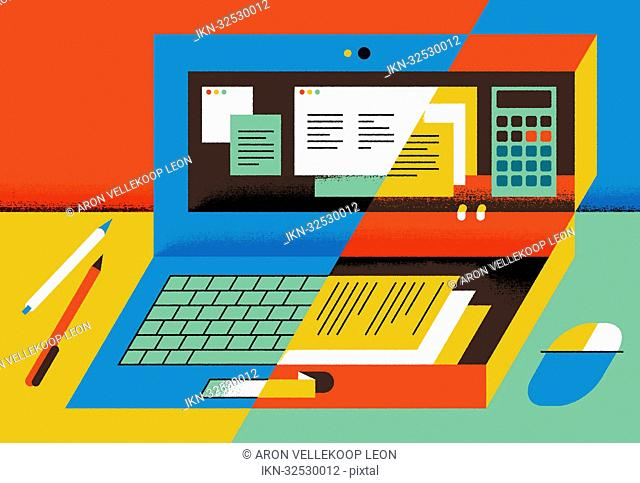 Halved image with computer, documents, pencils and calculator