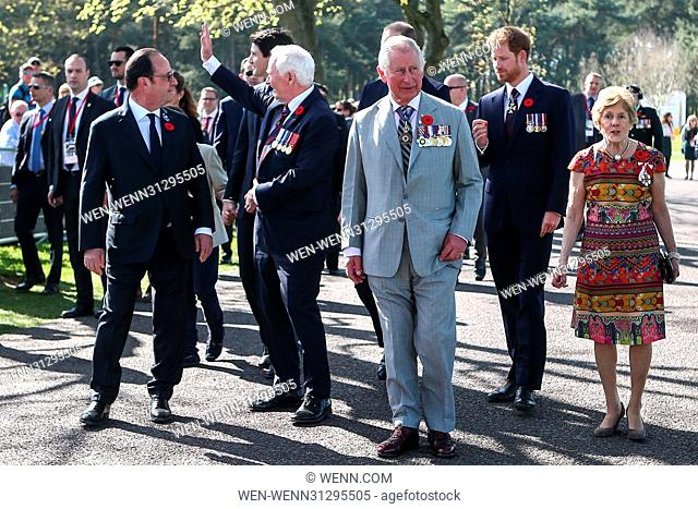 The Prince of Wales, The Duke of Cambridge and Prince Harry attend the Centenary of the Battle of Vimy Ridge Featuring: Francois Hollande, Prince Charles