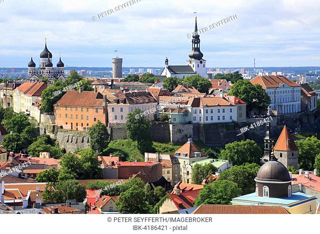 Upper Town with Alexander Nevsky Cathedral, Aleksander Nevski Katedraal, and Dom Toomkirik, from the tower of St. Olaf's Church, Oleviste Kirik, Tallinn