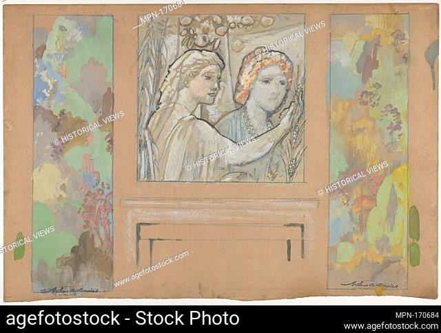 Design for an Overdoor Painting and Two Wall Panels. Artist: Arthur B. Davies (American, Utica, New York 1862-1928 Florence); Date: ca