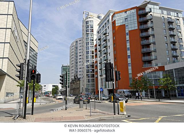 Altolusso Modern Tower blocks in Cardiff city centre, Wales UK