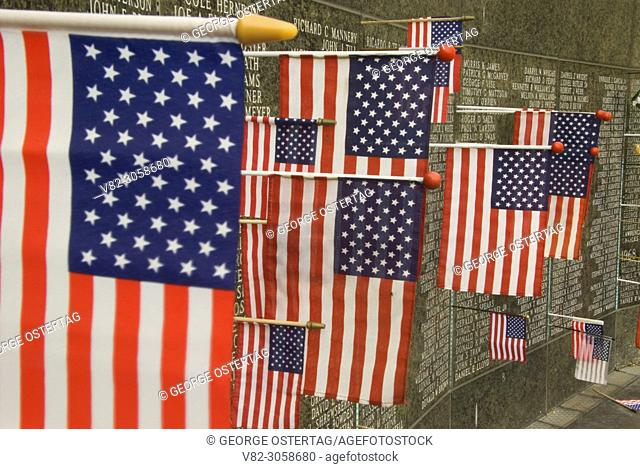 Washington Vietnam Veterans Memorial with American flag, Capitol Mall, Olympia, Washington