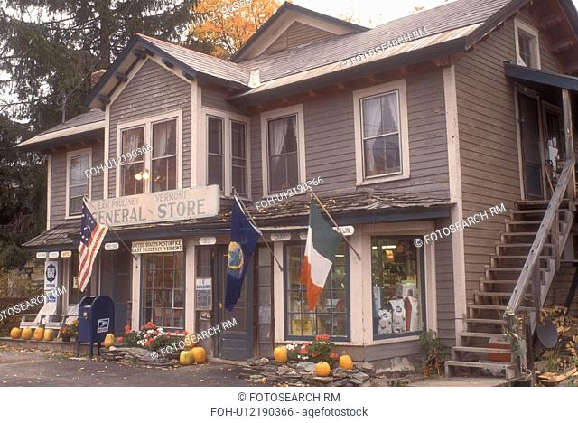 country store, fall, East Poultney, VT, Vermont, Fall decorations are displayed outside the General Store in East Poultney in autumn