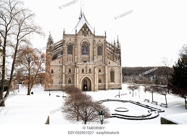 Saint Barbara cathedral in bohemian town Kutna Hora, snow, winter