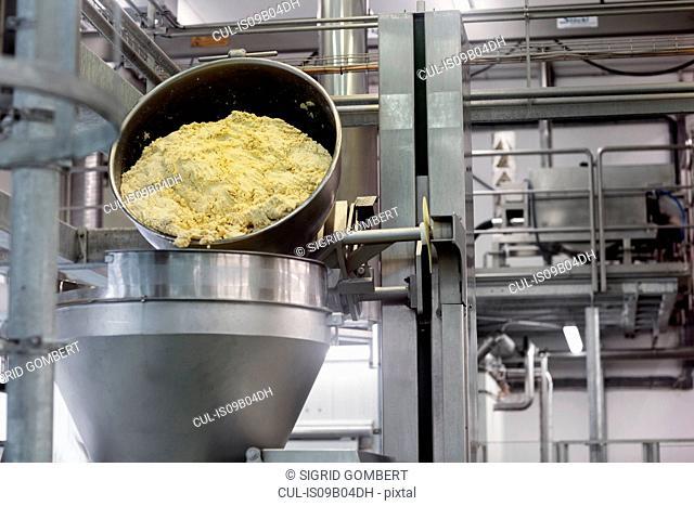 Machinery in organic tofu production factory