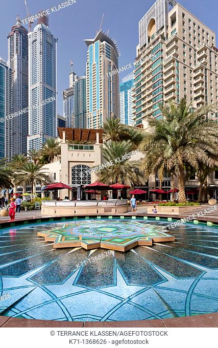 A colorful fountain in the Marina district of Dubai, UAE, Persian Gulf