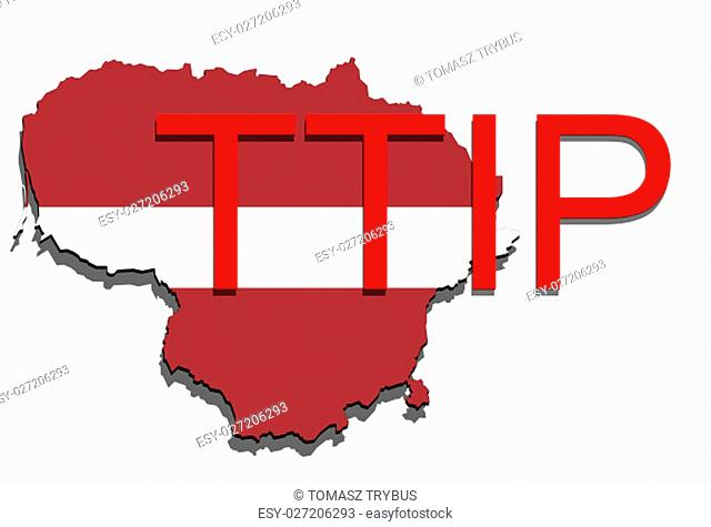 ttip - transatlantic trade and investment partnership on lithuania map