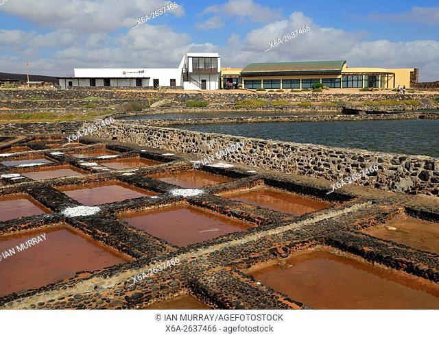 Evaporation of water in salt pans, Museo de la Sal, Salt museum, Las Salinas del Carmen, Fuerteventura, Canary Islands, Spain