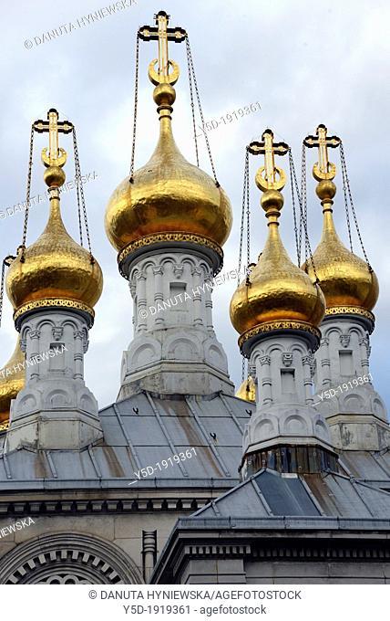 Gilded onion towers of the Russian Orthodox Church, Cathédrale de l'Exaltation de la Sainte Croix, Geneva, Switzerland