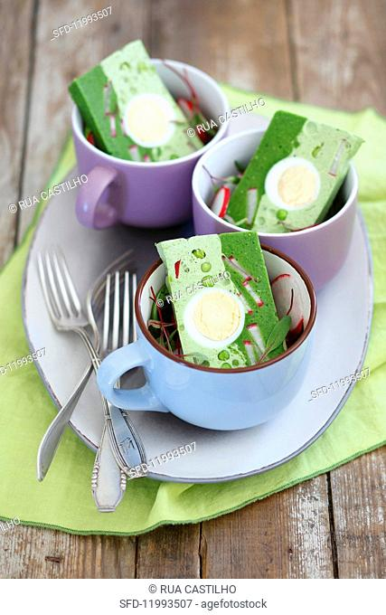 Spinach & pea terrine with eggs and radishes