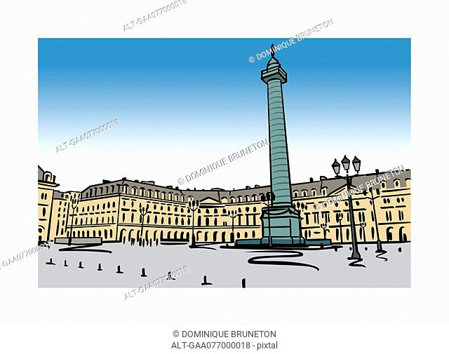 Illustration of Place Vendome in Paris, France