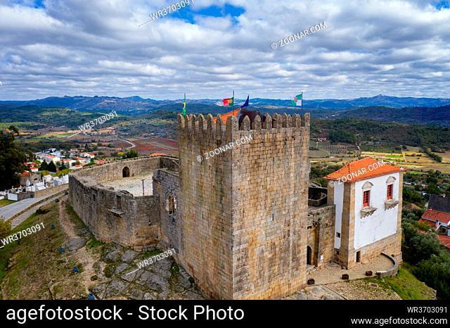 Belmonte city castle drone aerial view in Portugal
