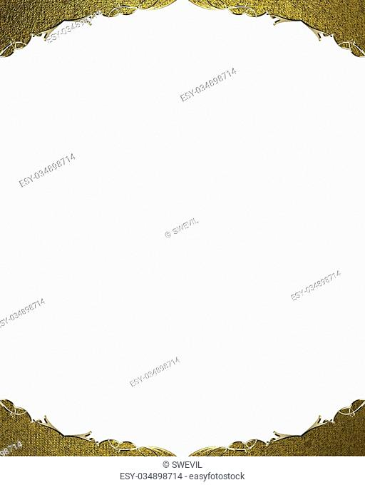 Gold frame isolated on white background. Design template. Design site