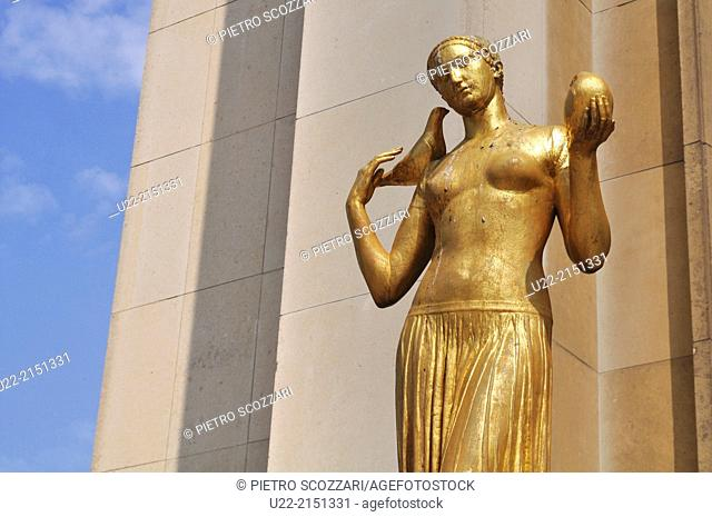 Paris, France, statue by the Palais de Chaillot, Trocadero