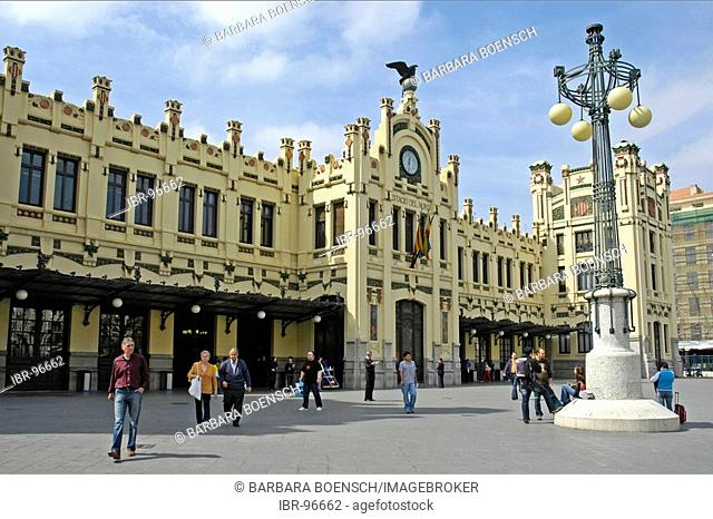 People on the square of the main station, Valencia, Spain