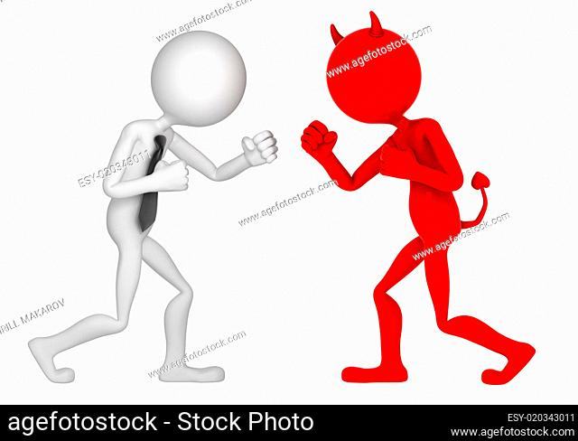 Businessman struggling with devil