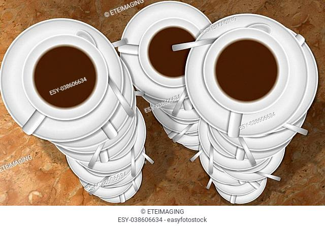 Three stacks of white coffee cups with spoons with a marble background