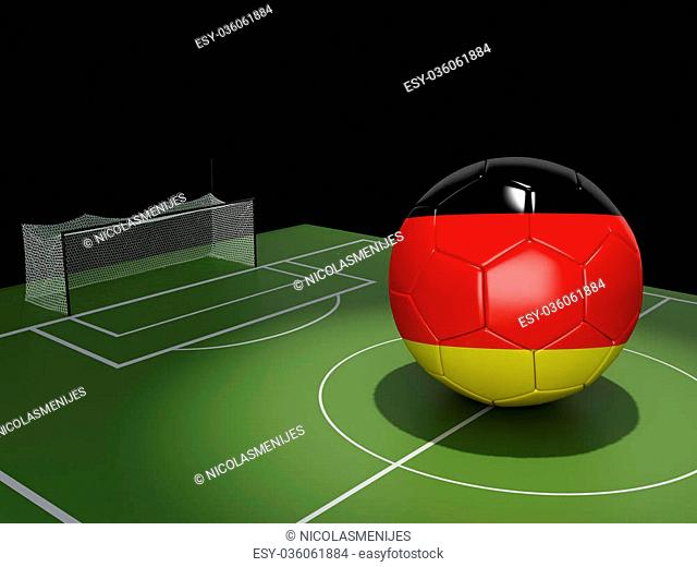 3d illustration. Soccer field and Germany ball. Sports concept