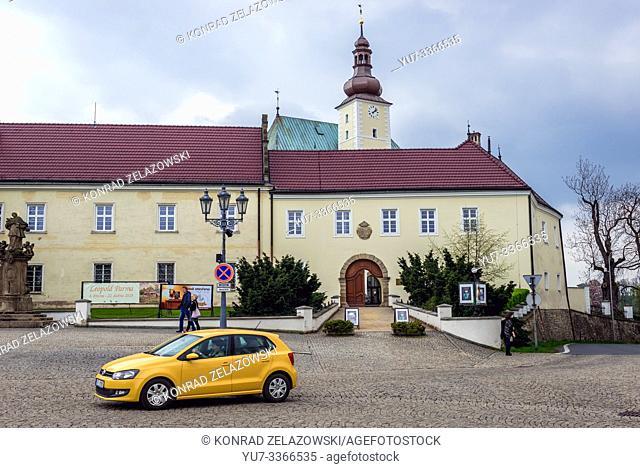 Castle seen from Town Square in Frydek-Mistek city in the Moravian-Silesian Region of Czech Republic
