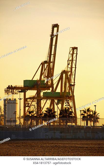 Port of Valencia from the Malvarrosa beach, Valencia, Spain, Europe