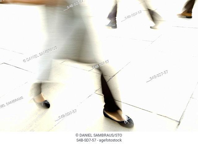 Walking people, blurred motion