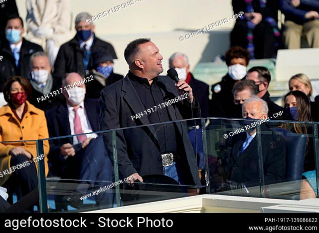 Garth Brooks performs after United States President Joe Biden took the Oath of Office as the 46th President of the US at the US Capitol in Washington